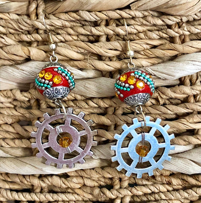 Steampunk Earrings with Red Boho Bead