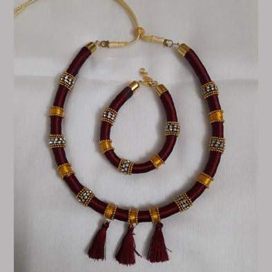 Maroon Gold Tube Necklace and Bracelet