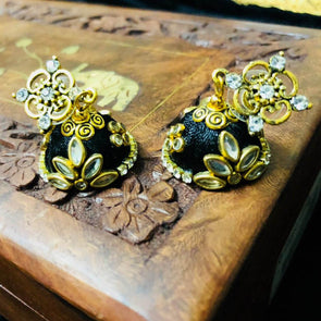 Silk Thread Kundan Jhumka