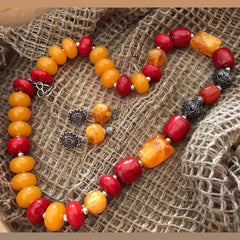 Bead Necklace In Red And Orange