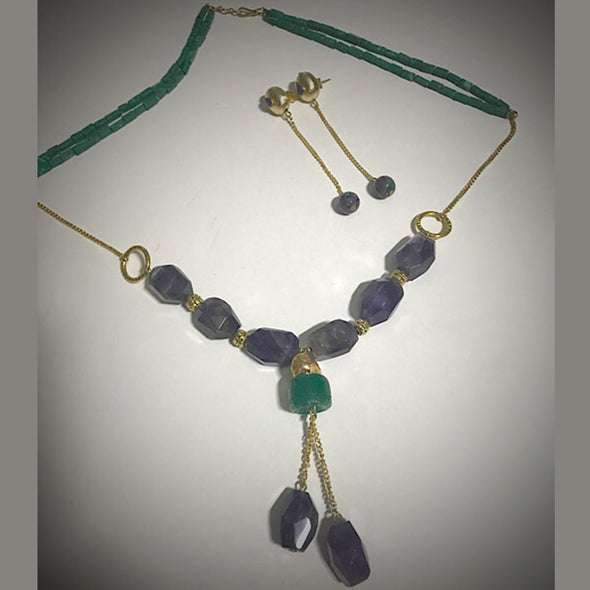 Green Beads with Purple Agate