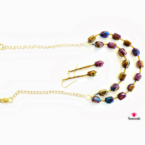 Double Layered Lustrous Neckpiece with Long Danglers