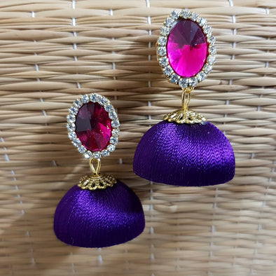 Purple Silk Thread Jhumkas
