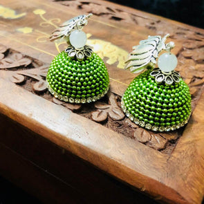 Green Bead Ball Jhumka