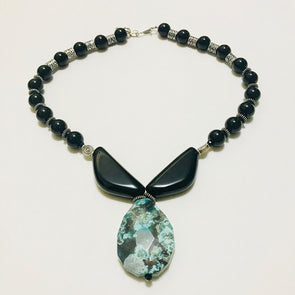 Blue Marble Stone with Black Agate