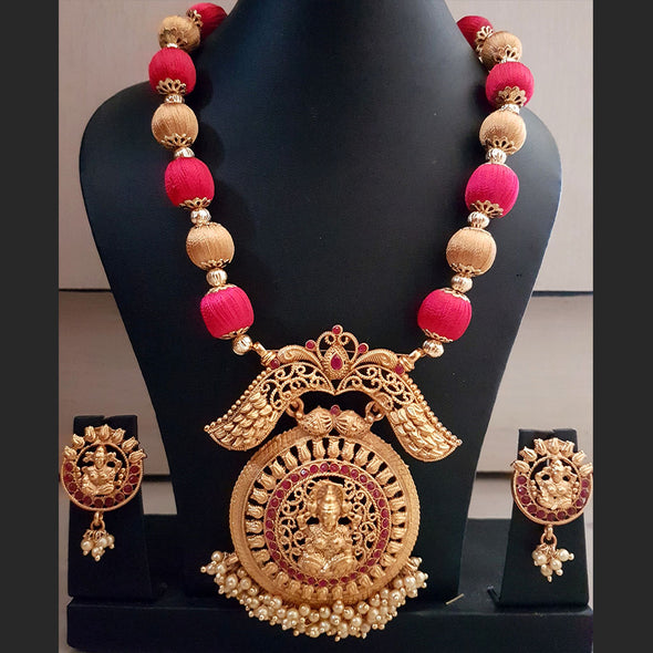 Silk Thread Set with Lakshmi Pendant