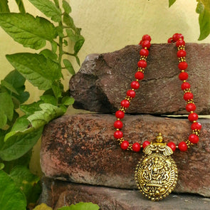 Ethic Gold-tone Red Crystal Necklace