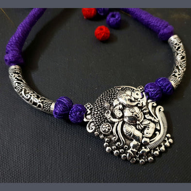 Cotton Thread Neckpiece with Ganesha Pendant