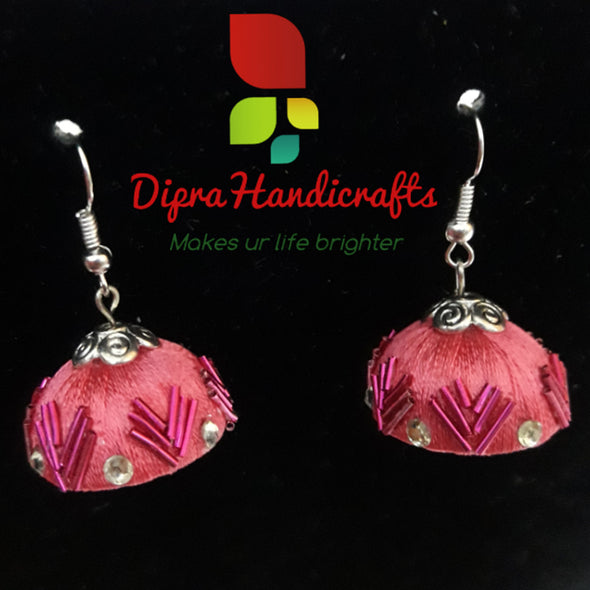 Pink Silk Thread Jhumkas