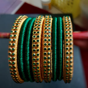 Green and Gold Silk Thread Bangles