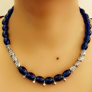 Dark Blue Bead Necklace