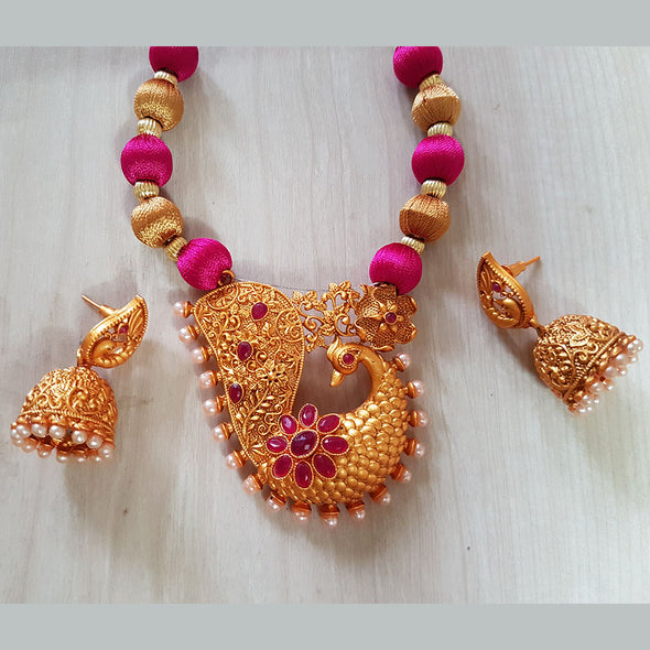 Silk Thread Set with Peacock Pendant