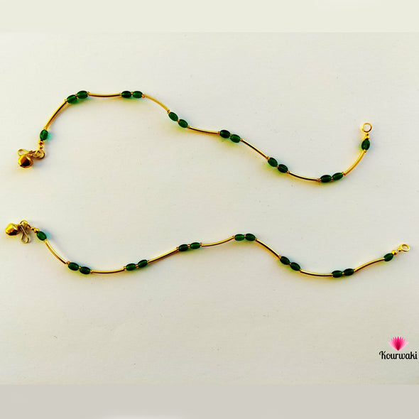 Green Oval Beads Anklets