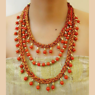 Orange Multilayer Necklace