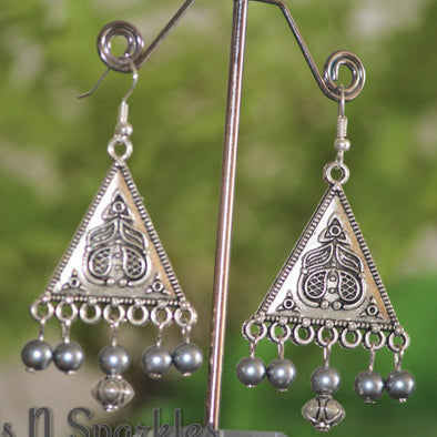 Pretty Grey Triangle Danglers