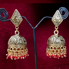 Gold Finish German Silver Jhumkas