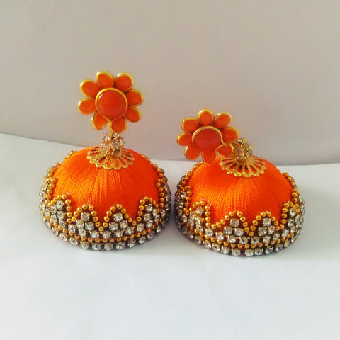 Silk Thread Paachi Jhumkas