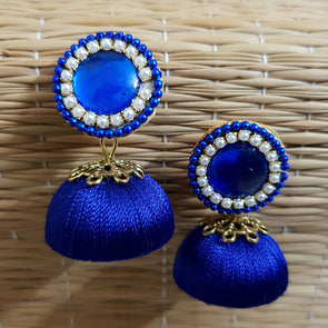 Blue Silk Thread Jhumkas