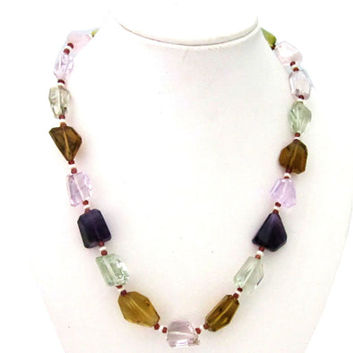 Amethyst, Topaz, Quartz Natural Stone Necklace