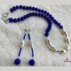 Alluring Silver Blue Dholki Bead Necklace with Danglers