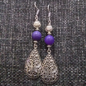 Purple Frost Agate Beads Earrings