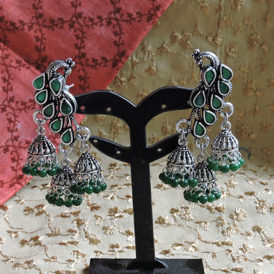Peacock Stud with Triplet Jhumka