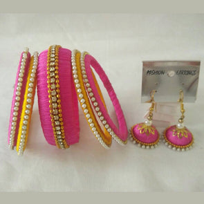 Pink and Yellow Bangles with Hook Earrings