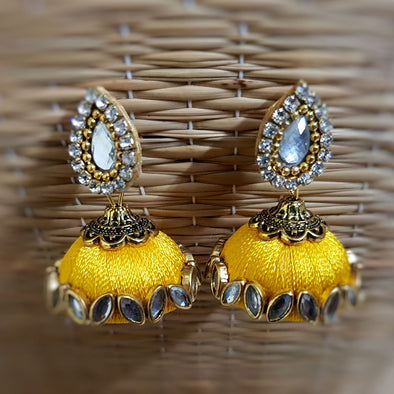Yellow Silk Thread Jhumkas