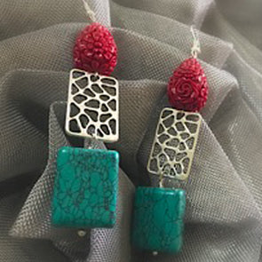 Carved Coral with Green Agate Earrings