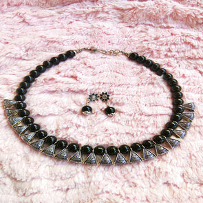 Black Loop Neckpiece with Earrings