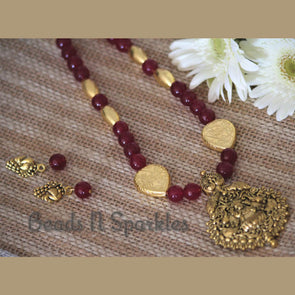 Maroon Laxmi Necklace