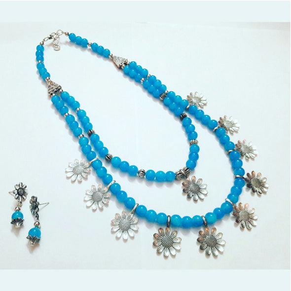 Blue Glass Beads Floral Necklace