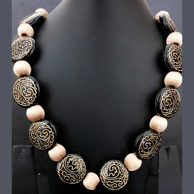 Beige and Black Silk Thread Neckpiece