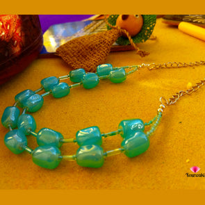 Double layered Aqua Blue Neckpiece with Danglers