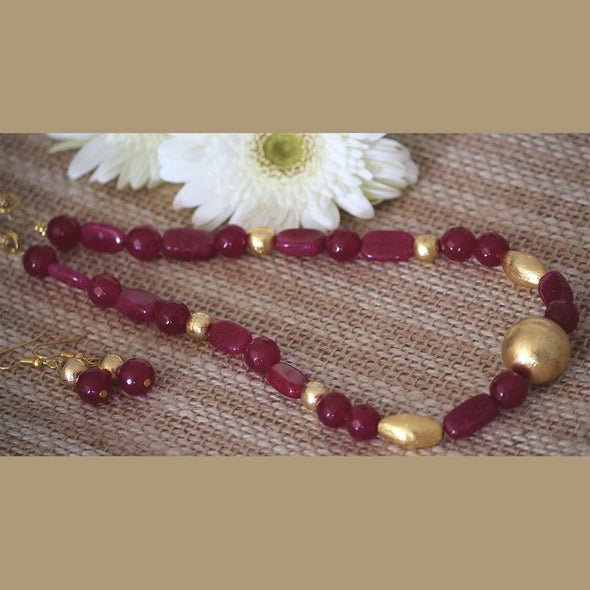 Semi-Precious Maroon Necklace Set