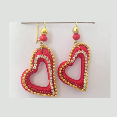 Red Heart Shaped Earrings 1
