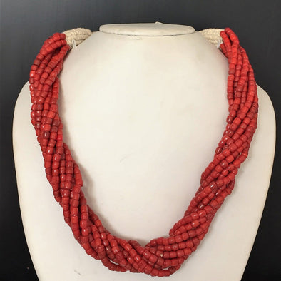 The Bead Story - Red Glass Beads Necklace