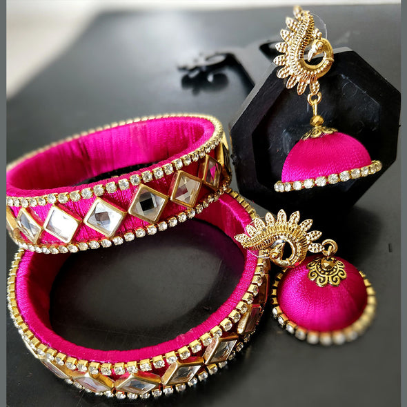 PInk Bangles and Earrings Set