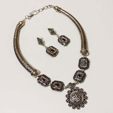 Victorian Bead German Silver Necklace Set