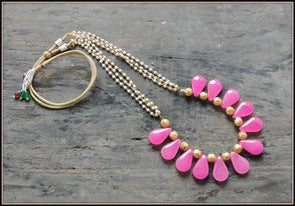 Pink Teardrop Bead Necklace