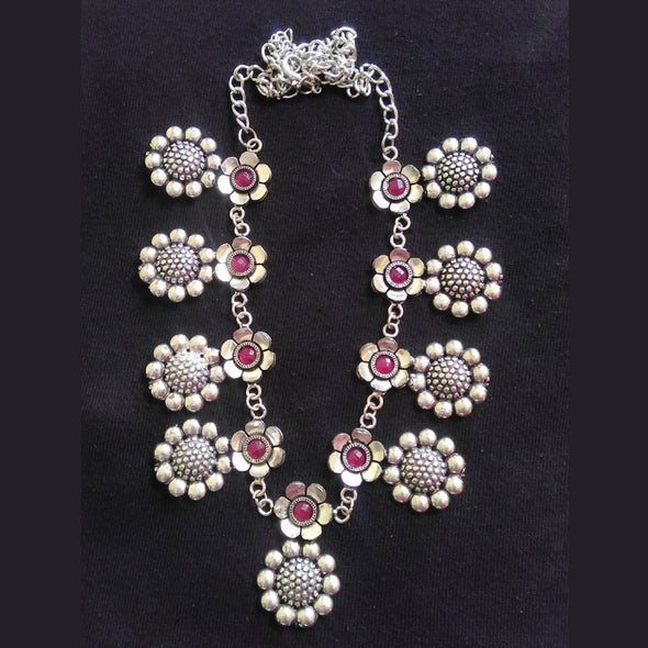 German Silver Floral Necklace