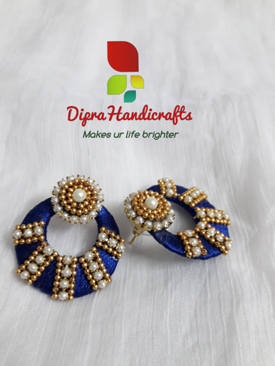 Navy Blue Pearl Chandhbali Stud