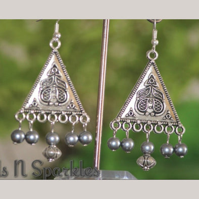 Triangle Grey Pearl Danglers