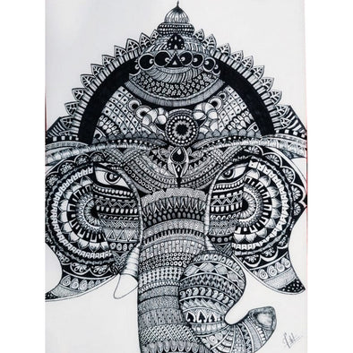 Framed black and white Ganapathi Mural Art