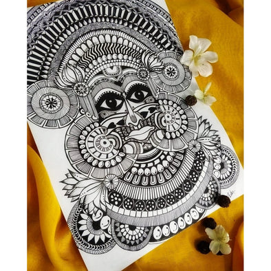 Framed black and white Theyyam Art