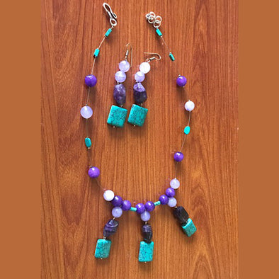 Purple Agate Necklace Set