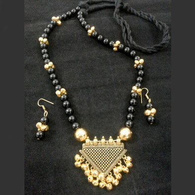 Triangle Golden Ghungroo Long Necklace