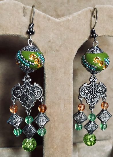 Green Boho Bead Chandelier