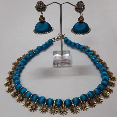 Elegant Blue Silk Thread Necklace