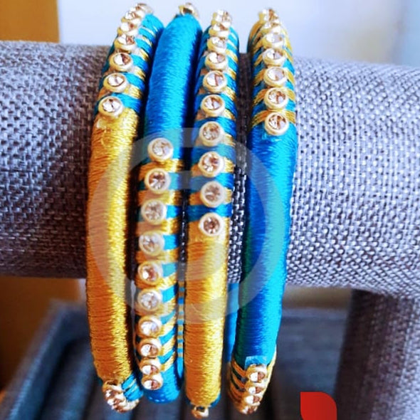 Blue Gold Silk Thread Bangles